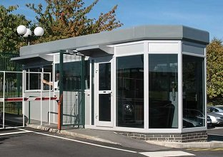 Glasdon Ireland Beacon GRP modular building system as a security gatehouse with with octagonal window arrangement