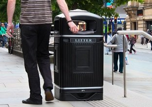 Glasdon Jubilee Ireland public litter bin with stubbing plate and silver banding