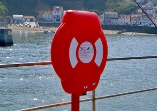 The highly visible Glasdon Ireland Guardian lifebuoy housing protecting life-saving devices inside from harmful UV degradation