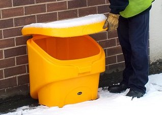 Glasdon Ireland Nestor 90 compact grit-salt bin in wintery conditions