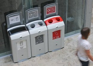 Three Glasdon Ireland Nexus 100 bins creating a recycling station to recycle cans and plastic bottles and for general waste