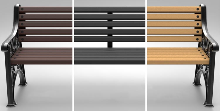 Brown Enviropol, Black Enviropol and Timberpol slats on the Glasdon Lowther™ Seat
