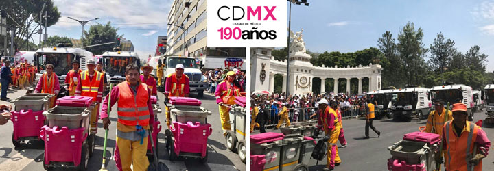 Glasdon Double Space-liners™ parade outside the Mexico National Palace