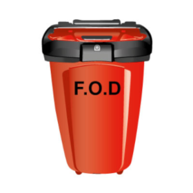 Cut out GIL FOD Bin 50 - bright red and post-mounted