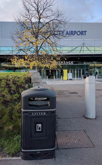 Glasdon Jubilee 110 Litter Bin outside the George Best Belfast City Airport entrance