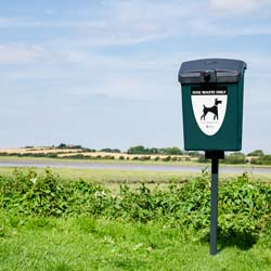 Fido Dog Waste Bin post mounted in a country lane