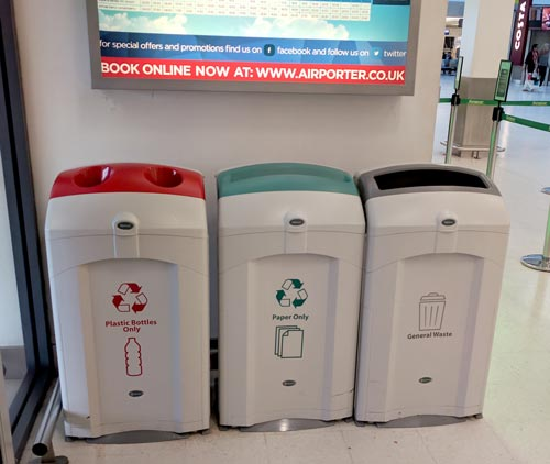 Nexus 100 Recycling Containers sited inside the Belfast City Airport terminal as a recycling station