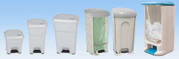 Banner Image - Glasdon Pedal Bins Range with foot pedal in use - BigFoot, Nexus Shuttle & Hippo Pedal Bins
