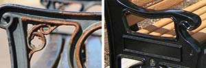 What are the benefits of cast aluminium over cast iron for seating?