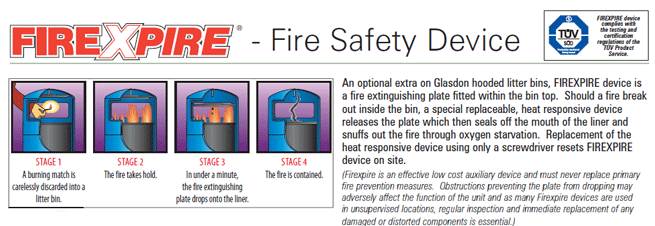 Firexpire is a fire safety device that can be attached to a selection of Glasdon bins.