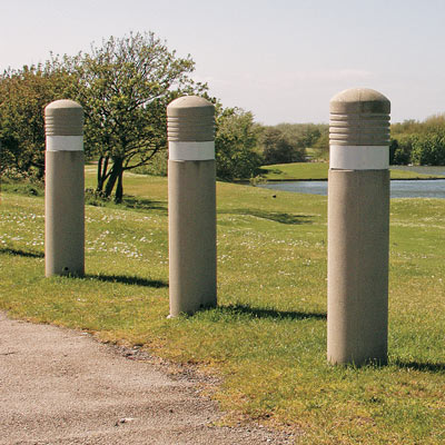 Sandstone Admiral bollards with 80mm white retroreflective banding