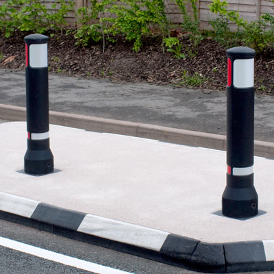 Black Advanced Neopolitan 150 bollards with red/white retroreflective patches - 2