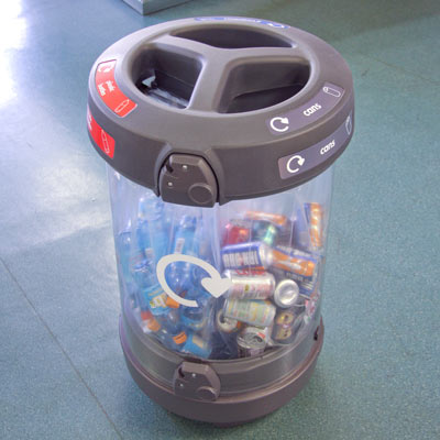 C-Thru 180 Trio Open Top - Airport Recycling Bin