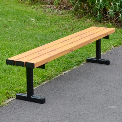 Fusion bench with light wood effect slats - 1