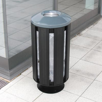 Fusion 60L litter bin - Black with Dome top and Pedestal