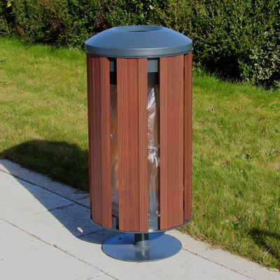 Fusion 60L litter bin - Dark Wood with Dome top and Pedestal
