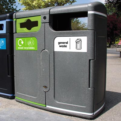 Gemini™ General Waste / Mixed Recyclables Recycling Bin