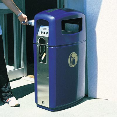 Integro litter and cigarette bin in Dark Blue