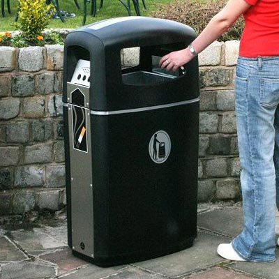Integro litter and cigarette bin in Black with Silver Banding