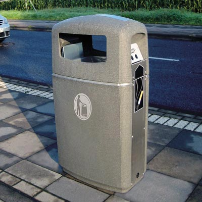 Integro litter and cigarette bin in Millstone with Silver Banding