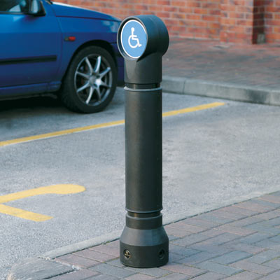 Black Mini-Ensign bollard - Personalised Disabled Sign
