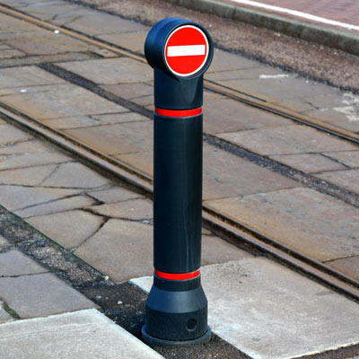 Black Mini-Ensign bollard with red retroreflective banding and sign Ref 616