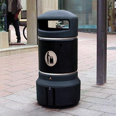 Mini Plaza litter bin Black with Banding