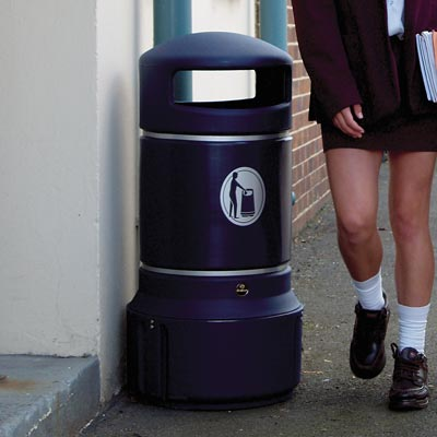 Mini Plaza litter bin Dark Blue with Banding
