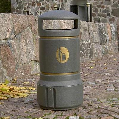 Mini Plaza litter bin Millstone with Banding