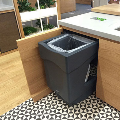 Nexus Caddy under counter recycling bin with a single recycling aperture