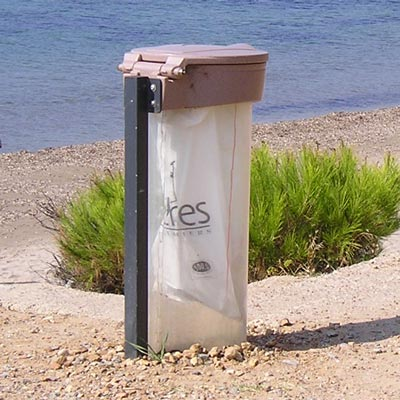 Orbis sack holder in Sandstone with Lid and Polycarbonate Shield