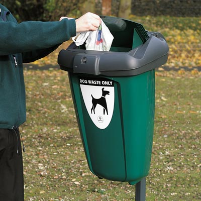 Retriever 50 dog waste bin in green in use