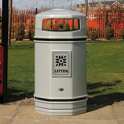 Stanford litter bin in Silver