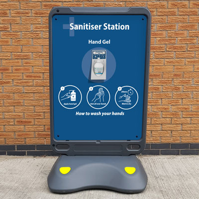 Advocate™ Poster Display Sanitiser Station Free Standing Hand Sanitiser Station for Gel and Wipes
